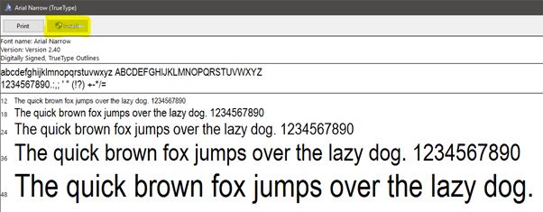 Sample font Arial Narrow
