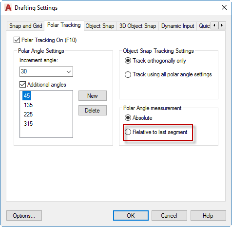 AutoCAD Relative Setting